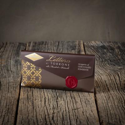 Lettera di Torrone alle Mandorle e Pistacchi ricoperto al cioccolato fondente - Condorelli